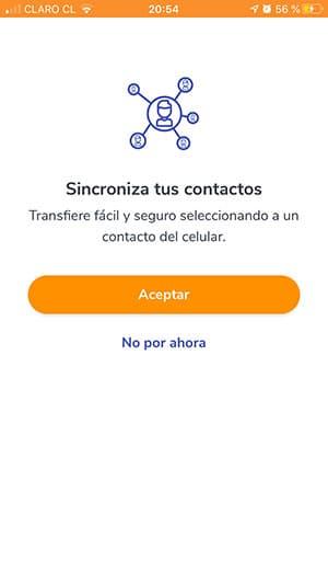 sincronizar contactos app bancoestado